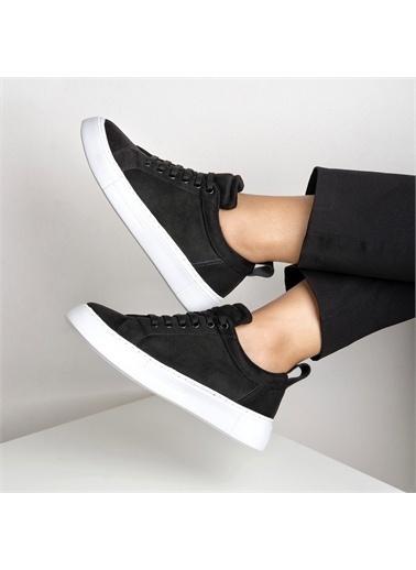 OKHU SHOES Kadın Süet Bağcıklı Ayakkabı Siyah